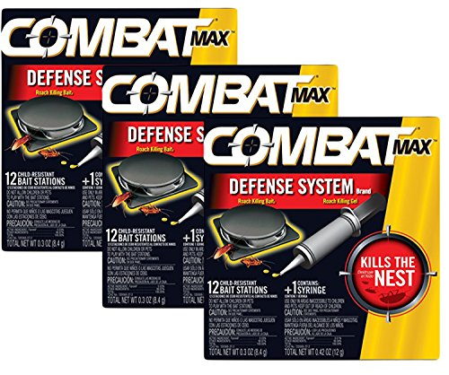 Combat Max Defense System Brand, Small Roach Killing Bait and Gel, 12 Count (Pack of 3)