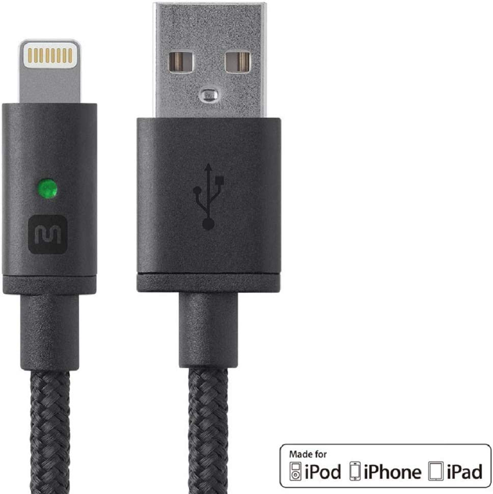 Monoprice Apple MFi Certified Lightning to USB Charge & Sync Cable - 4 feet - Black - Luxe Series