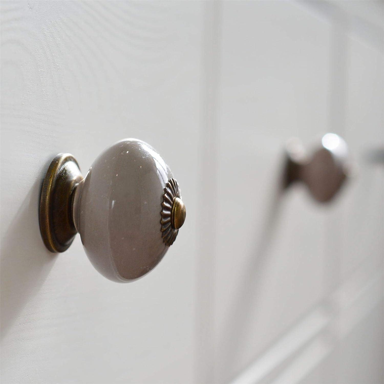 Ceramic Door Knobs Cabinet Drawer Luxury Handle Set x6 White