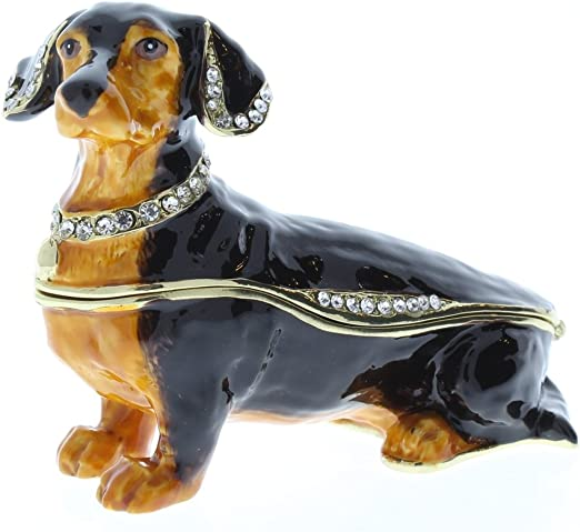 Black Dachshund Puppy Dog Jeweled Trinket Box