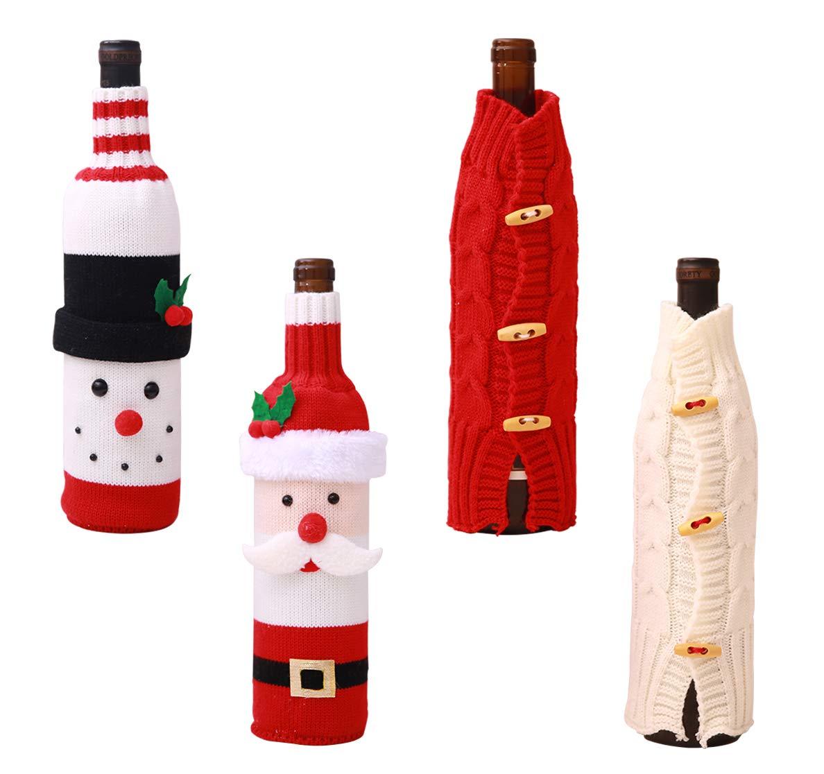 Bottiglie di Vino di Babbo Natale e pupazzo di neve modello bottiglia di vino borsa per decorazioni di Natale tabella Decor (2 Pack) Xunlong
