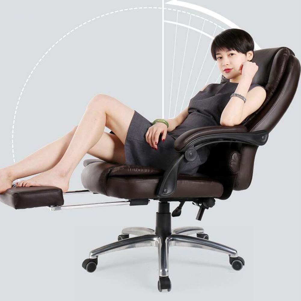 WYYY stolar kontorsstol lutningsfunktion verkställande svängbar stol ergonomisk höjdjustering 41 – 49 cm teleskopiskt fotstöd hållbar stark (färg: svart) Brun
