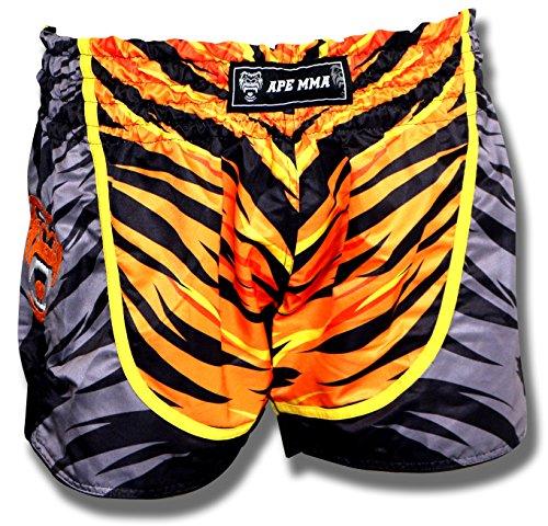 Ape MMA Premium Muay Thai Shorts for Kickboxing, Thai Boxing, MMA and Striking 5+ Styles, Orange Tiger, Medium