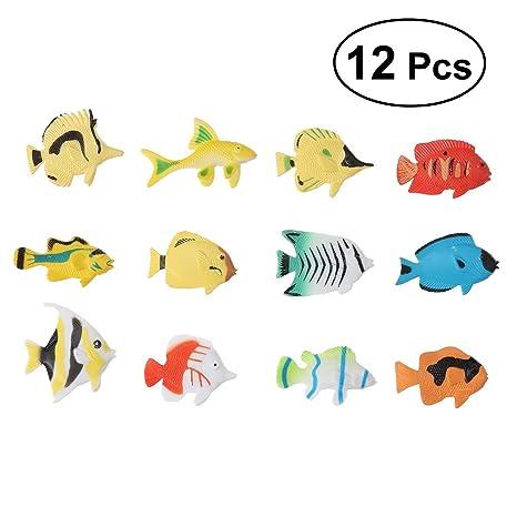 Toyvian Juguete Plástico Colorido Peces - 12 Piezas Figuras de Criaturas Marinas,Color Surtido de