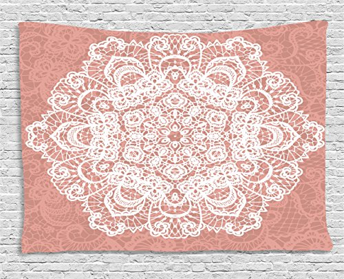 Floral Vintage Tapestry (Mandala Tapestry by Ambesonne, Lace Style Vector Mandala Vintage Abstract Floral Ornamental Design Print, Wall Hanging for Bedroom Living Room Dorm, 60WX40L Inches, Coral and White)