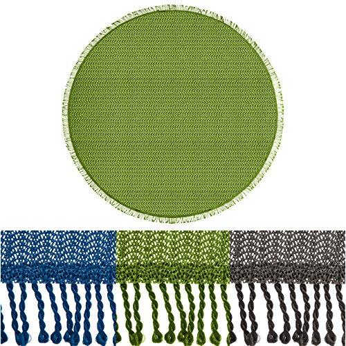 casa pura® Tischdecke Wonderland für Garten und Balkon   Weichschaum mit Fransen   rund 140 cm   pflegeleicht und wetterfest   in 3 Farben (uni grün)