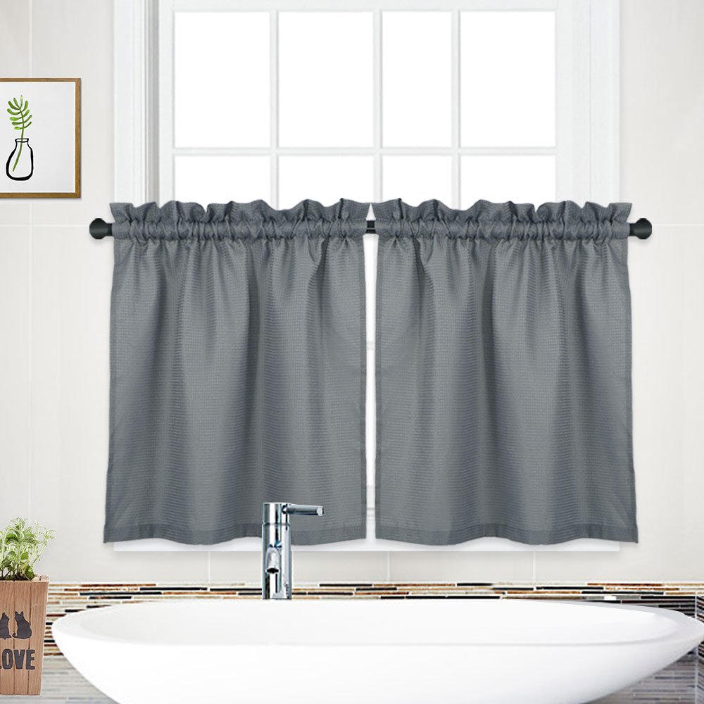 "NANAN Tier Curtains,Waffle Woven Textured Bathroom Window Curtains,Tailored Waterproof Short Window Kitchen Cafe Curtains - 30"" x 36"", Grey, Set of 2"