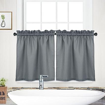 Amazon NANAN Tier CurtainsWaffle Woven Textured Short Window