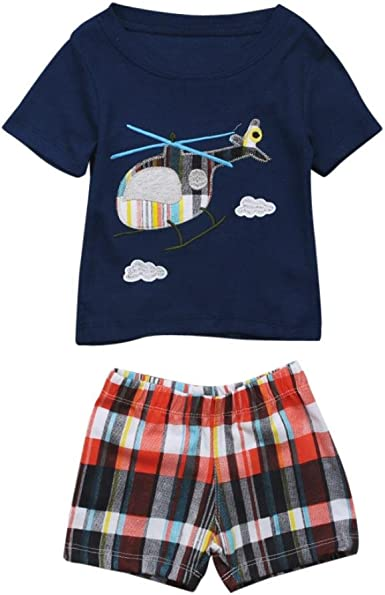 Kehen Infant Newborn Baby Boy 2pcs Summer Clothes Outfits Helicopter Print T-Shirt Top Tee Plaid Shorts Suit