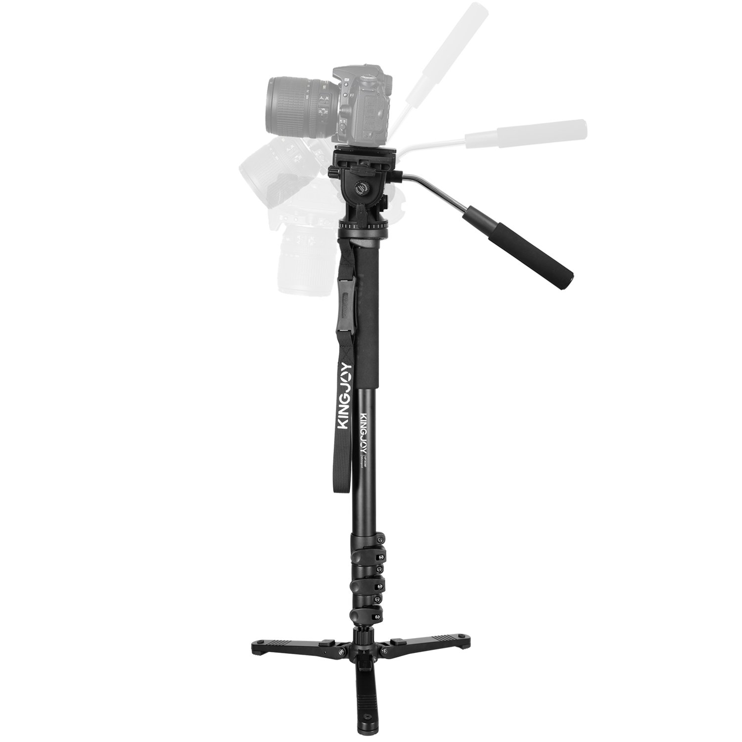 Papaler Professional Camera Monopod Kit, 69'' Aluminum Video Tripod Monopod with Removable Fluid Drag Pan Head and Folding Three Feet Support Stand Base for Canon Nikon Sony DSLR panorama shooting by Papaler