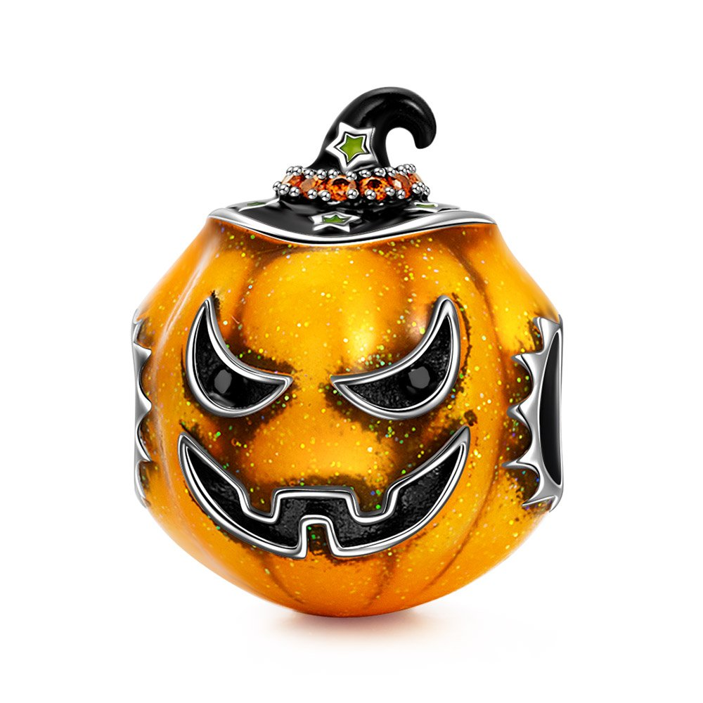NINAQUEEN Crafty Pumpkin 925 Sterling Silver Charm crafted with Exquisite Enamel compatible with Standard Bracelet ♥Perfect Gift for Women Girls!