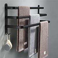 SDYBGRF HJHY Handdoekhouder zwart met haken, muur badkamer handdoekhouder, handdoekstangen voor badkamer keuken…