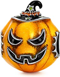 NINAQUEEN The Light of Halloween Women Pumpkin Bead Charm 925 Sterling Silver Fit for Charm Bracelet and Necklace with Yellow Enamal, Christmas Gifts, Come with a Gift Packaging, Passed SGS