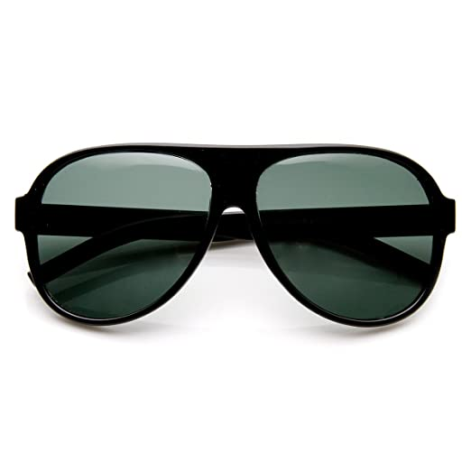 6a3fe1d61b19 Amazon.com: Classic Tear Drop Glass Lens Plastic Aviator Sunglasses  (Black): Clothing