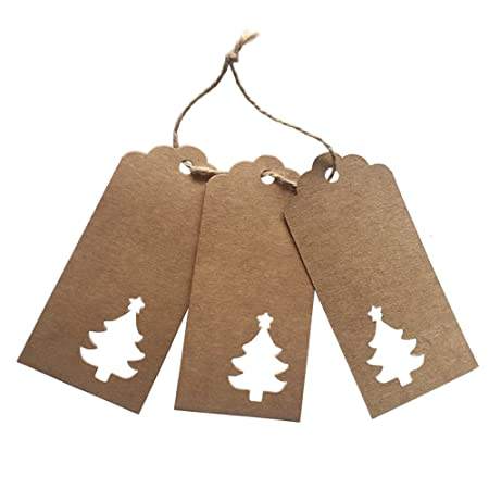 Doutop Gift Tags Christmas Crafts Paper Tags With Thick String Jute