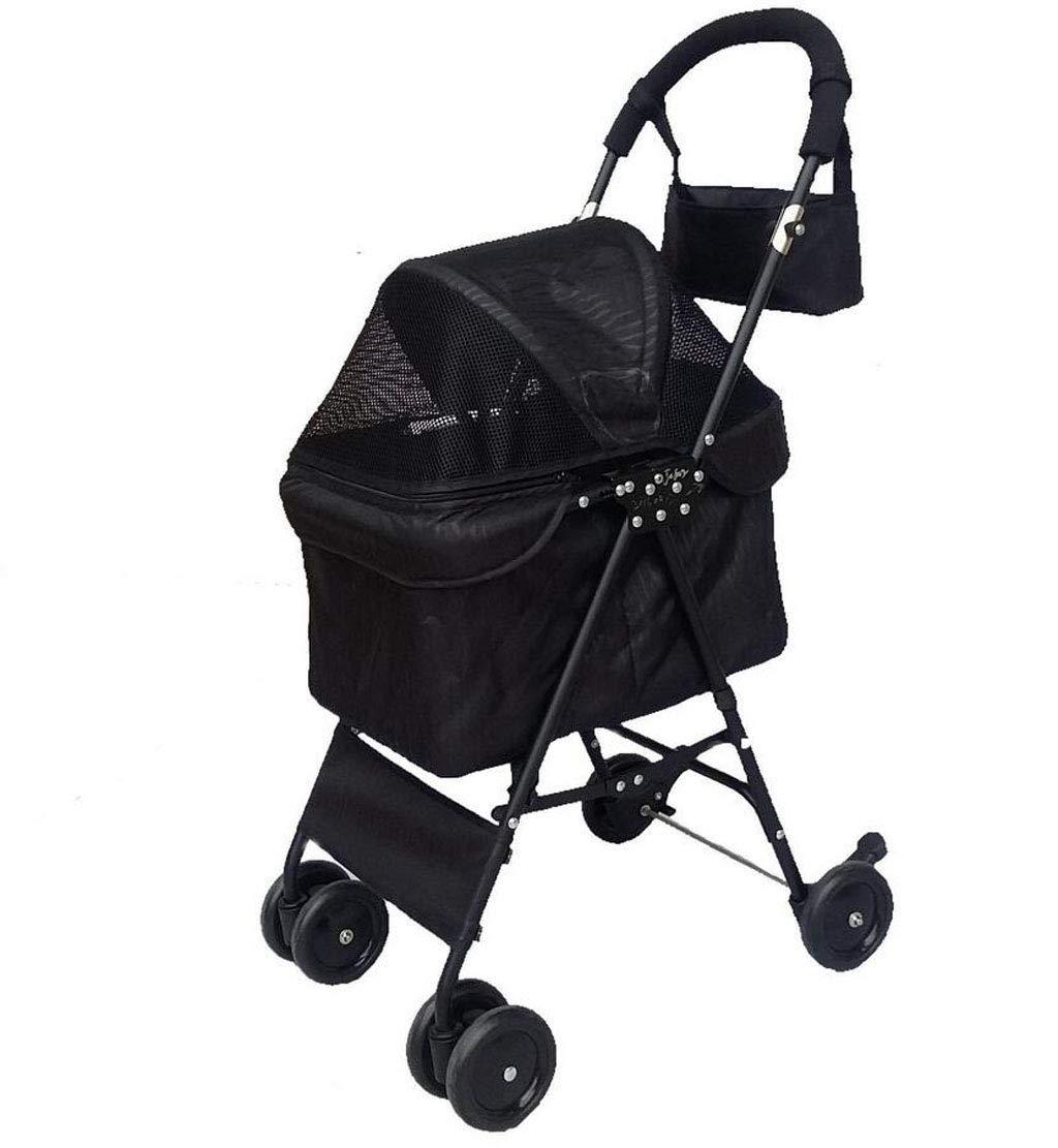 BLACK JBHURF Portable Pet Stroller Four Wheel Pet Stroller Foldable Carrier Strolling Cart (color   BLACK)