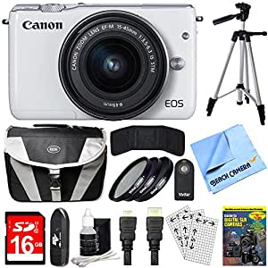 Canon EOS M10 Mirrorless Camera White 15-45mm Lens 64GB Bundle includes Camera, Lens, 64GB Memory Card, Reader, Wallet, Tripod, Bag, Training DVD, HDMI Cable, Cleaning Kit, Beach Camera Cloth and More