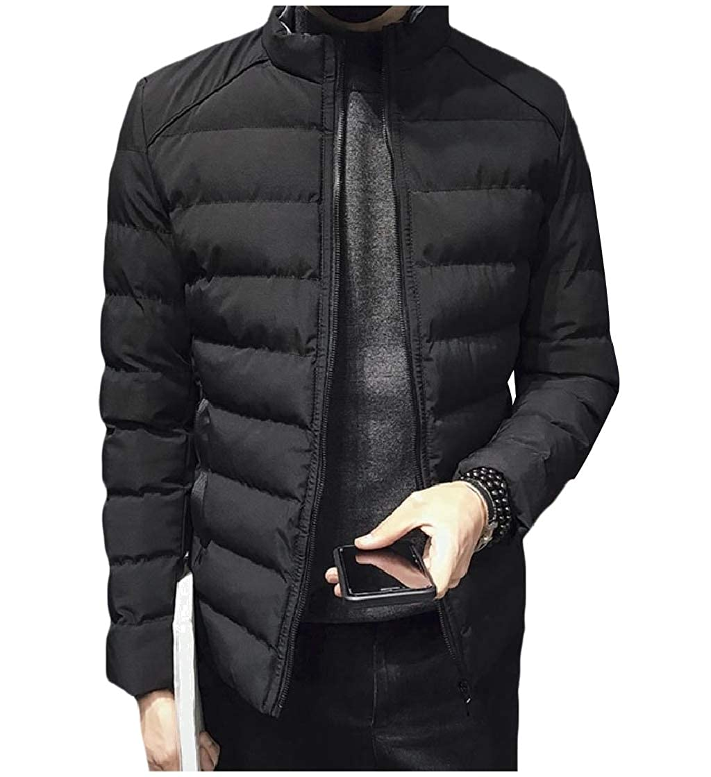 YUNY Mens Loose with Zips Stand Collar Casual Thicken Parka Jacket Black L