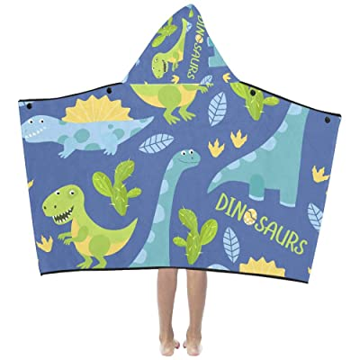 Funny Ancient Cute Dinosaur in Painting Soft Warm Cotton Blended Kids Dress Up Hooded Wearable Blanket Bath Towels Throw Wrap for Toddlers Child Girls Boys Size Home Travel Picnic Sleep Gifts Beach: Clothing