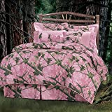 7pc Girls Pink Camo Full Comforter Set, Hunting Themed Bedding Camouflage Woods Leaves Branches Forest Lodge Southwest Outdoors Country Hunt Pattern, Polyester