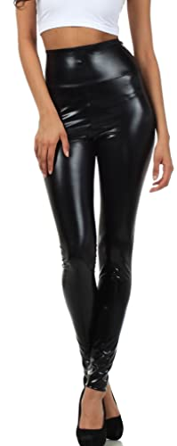 Black Liquid Metallic High Waist Stretch Leggings