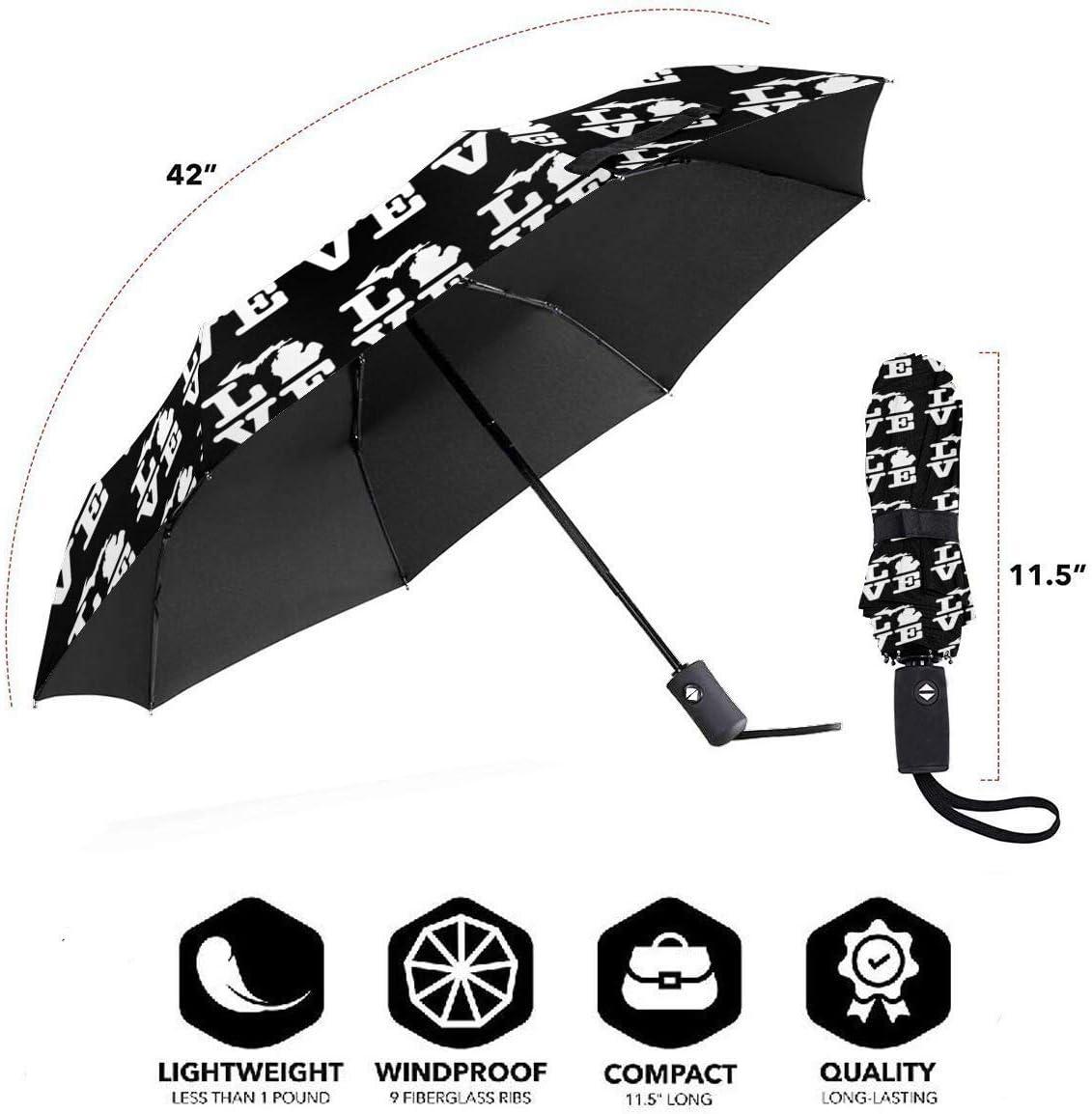 I Love Michigan Map Automatic Tri-Fold Umbrella Parasol Sun Umbrella Sunshade