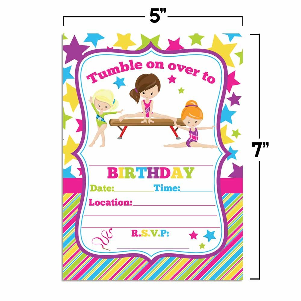 Amazon Gymnastics Birthday Party Invitations For Girls 20 5x7 Fill In Cards With Twenty White Envelopes By AmandaCreation Kitchen Dining