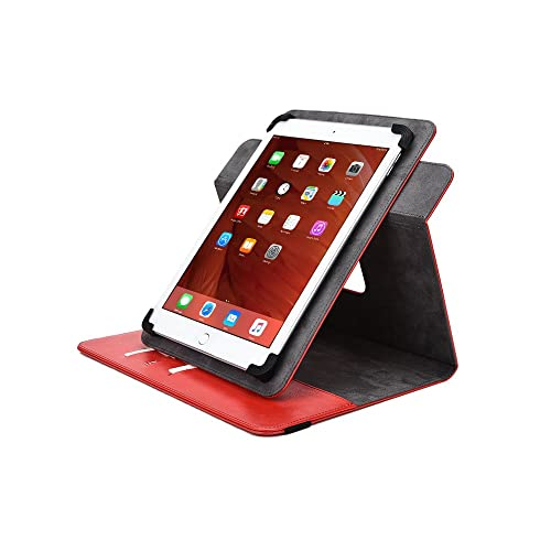 Universal 7-8'' Tablet case, COOPER DIPLOMAT Travel Carrying Portfolio Luxury Tablet Case Protective Cover PU Leather Folio with 360 Rotating Stand & Pockets for 7-8'' Tablets (Red)