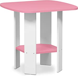 FURINNO Simple Design End/SideTable, 1-Pack, Pink/White