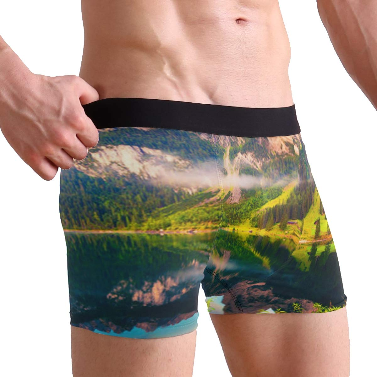 Colorful Summer Sunrise Lake Austrian Boxer Briefs Mens Underwear Pack Seamless Comfort Soft
