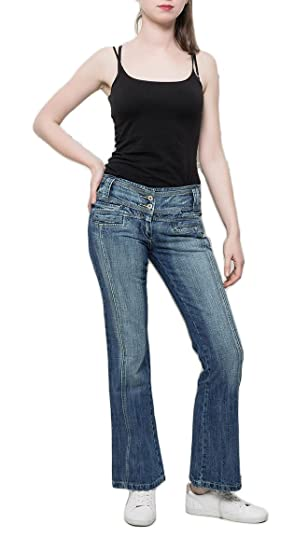 si moda Damen Jeans Bootcut Hose Schlaghose Gerades Bein