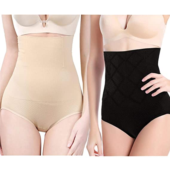 5cf5f1734fd 2-Pack Ultra High Waist Body Shaper Slimming Panties 360 Tummy Control  Stomach Trimmer Shapewear Butt Lifter Body Shaper at Amazon Women s  Clothing store