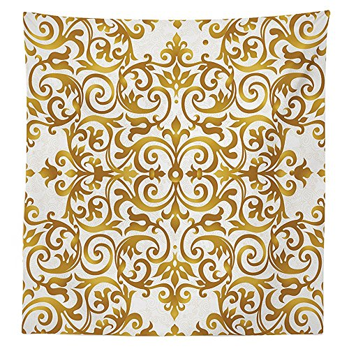 Kitchen Decor Tablecloth Victorian Golden Lace Antique Baroque Pattern Oriental Ottoman Royal Square Pattern Dining Room Kitchen Rectangular Table Cover White Gold (Threshold Target Ottoman)