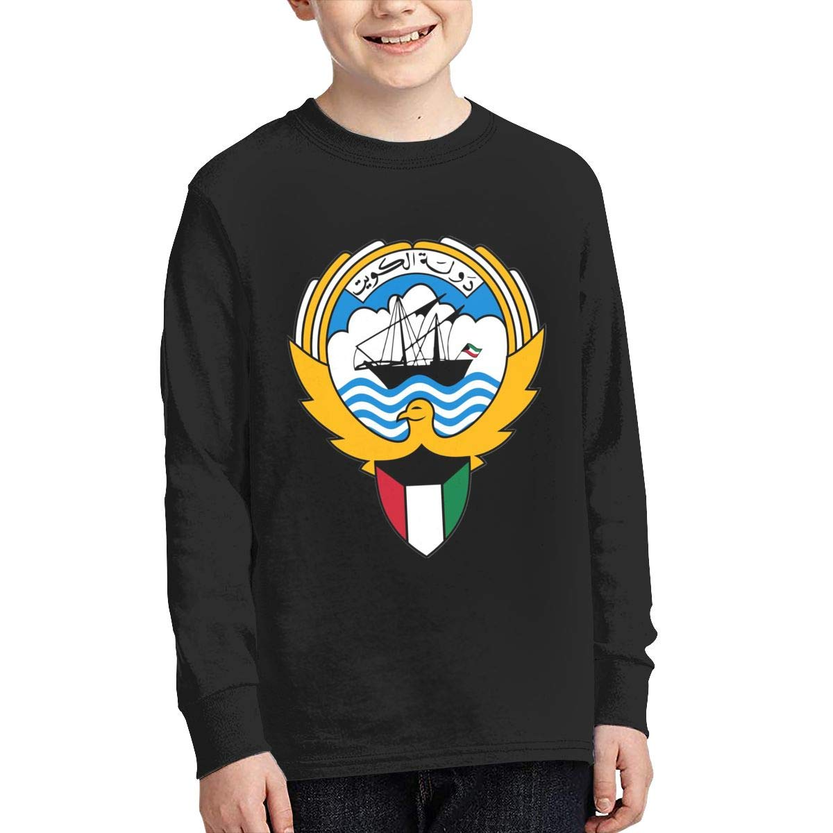 Youth Long Sleeve Moisture Wicking Athletic T Shirts Casual Tee Graphic Tops for Teen Boys Girls Coat of Arms of Kuwait
