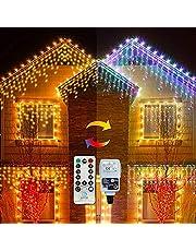 Lichtgordijn ijspegel buiten 10m 300LEDs voor buiten, warm wit en en kleurrijke ijsregen kerstverlichting voor kerstbomen, feestdecoratie