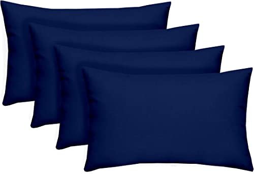 Resort Spa Home Decor Set of 4 Indoor Outdoor Decorative Accent Lumbar Rectangle Pillows Cobalt Royal Blue Solid