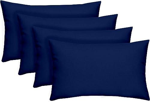 Set of 4 Indoor / Outdoor Decorative Accent Lumbar / Rectangle Pillows Cobalt Royal Blue Solid