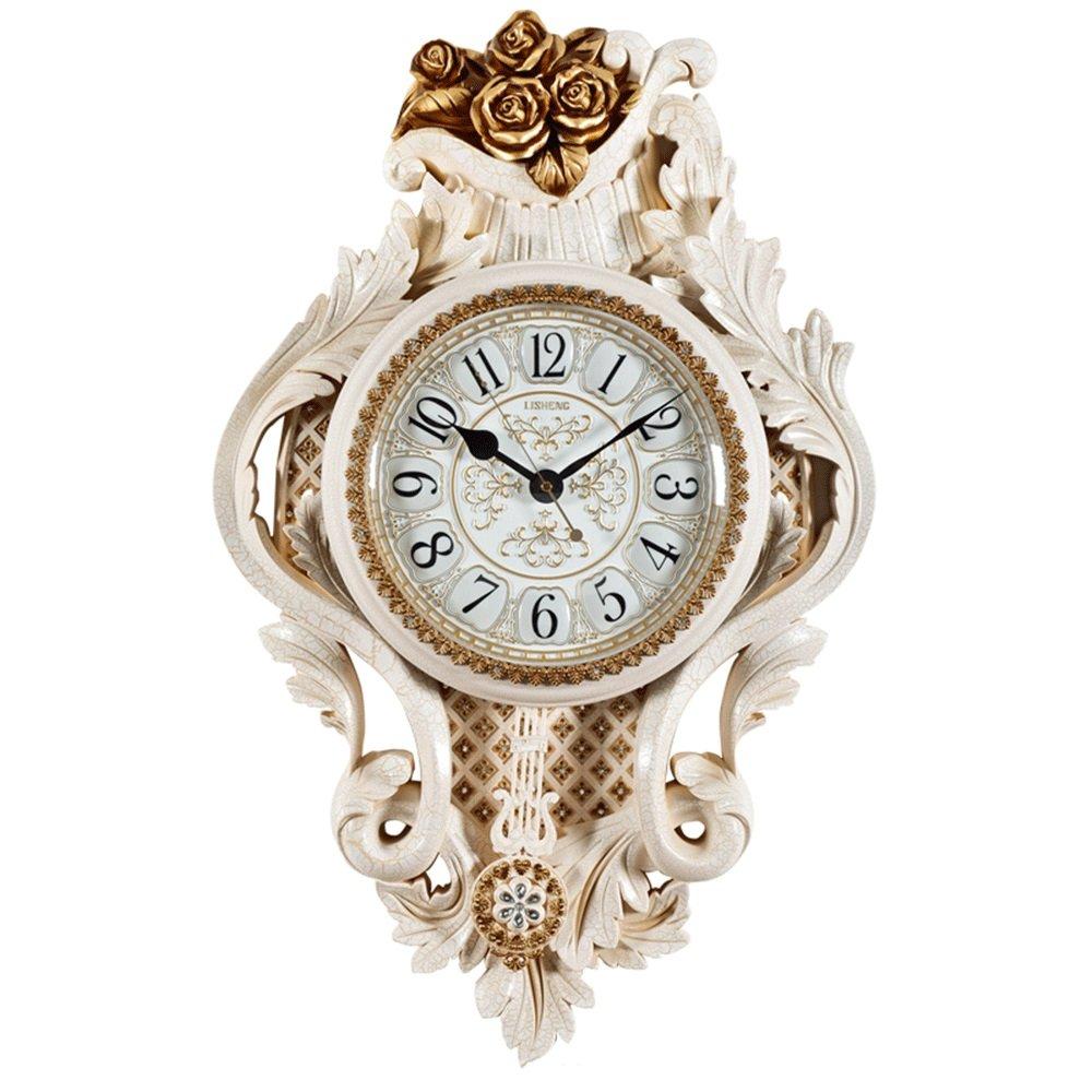 GDXRB ヨーロッパの彫刻された壁時計創造的な人格レトロなリビングルームの時計の雰囲気の家のレストランミュートクォーツ時計スイングクロック (スタイル : D) B07DCYD83Z D