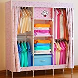 Generic New Large Family Bold Portable Wardrobe Reinforced Thickened Fully-enclosed Closet Steel Hanger Armoire Organizer