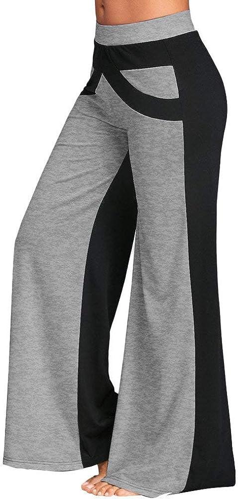 POLP Pantalones Transpirables para Mujer Pantalones de Yoga Campana de Remiendo de pantalón de Cintura Media Pantalones de Yoga de Pierna Ancha