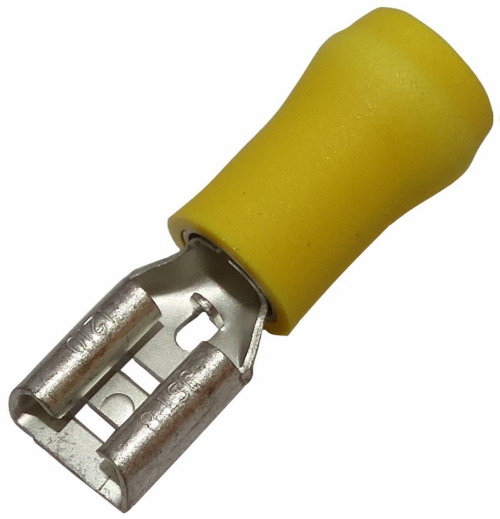 10 x Kabelschuhe Kabelschuh Klemme weiblich flach 6.3mm 0.8mm 4-6mm2 gelb isoliert Aerzetix