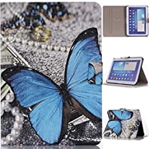 """Slim Fit P5200 Case, Gift_Source(Stand Feature) Folio Flip PU Leather Case Cover Skin Back Case for Samsung Galaxy Tab3 10.1"""" Tablet GT-P5200 / GT-P5210 (Blue Butterfly Graphic Pattern Design),Sent Screen Protector + Stylus Pen"""