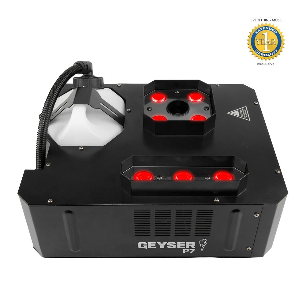 Chauvet DJ Geyser P7 7-LED RGBA+UV Vertical Fog Machine with Wireless Remote and 1 Year EverythingMusic Extended Warranty Free