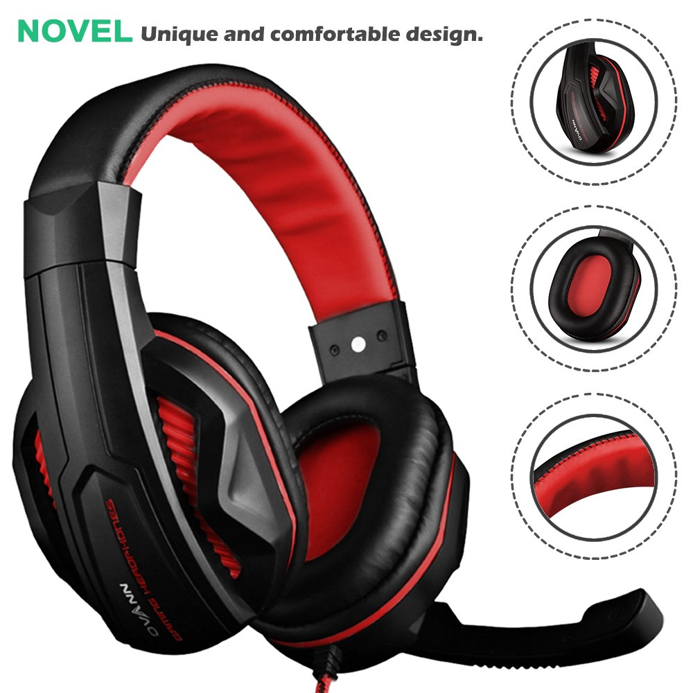 3.5mm Wired Bass Stereo Noise Isolation Gaming Headphones with Mic for Laptop Computer Black and Red DLAND Gaming Headset PS4 and so on- Volume Control Cellphone