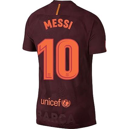 Nike Barcelona 3ª Kids Messi Jersey 2017/2018 (Oficial de impresión), Granate