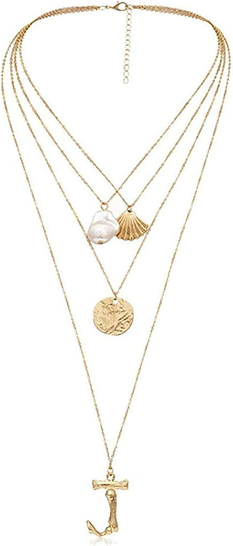 PPQKKYD Collar Collar Mujer Collar de Conchas de Perlas Joyas Capas Letra Grande Moneda Cadena Larga Collar con Collar Colgante