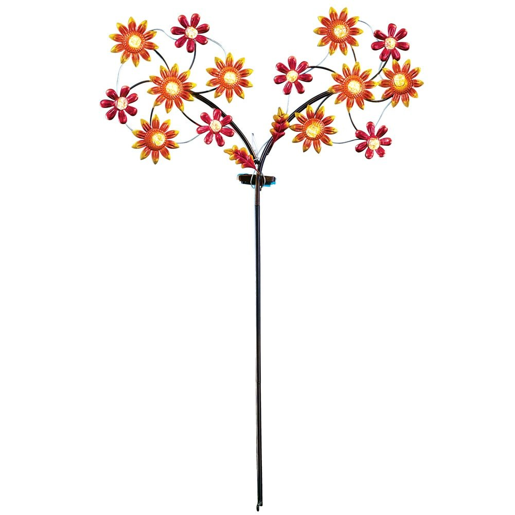 Collections Etc Spinning LED Sunflower Garden Yard Stake Decor