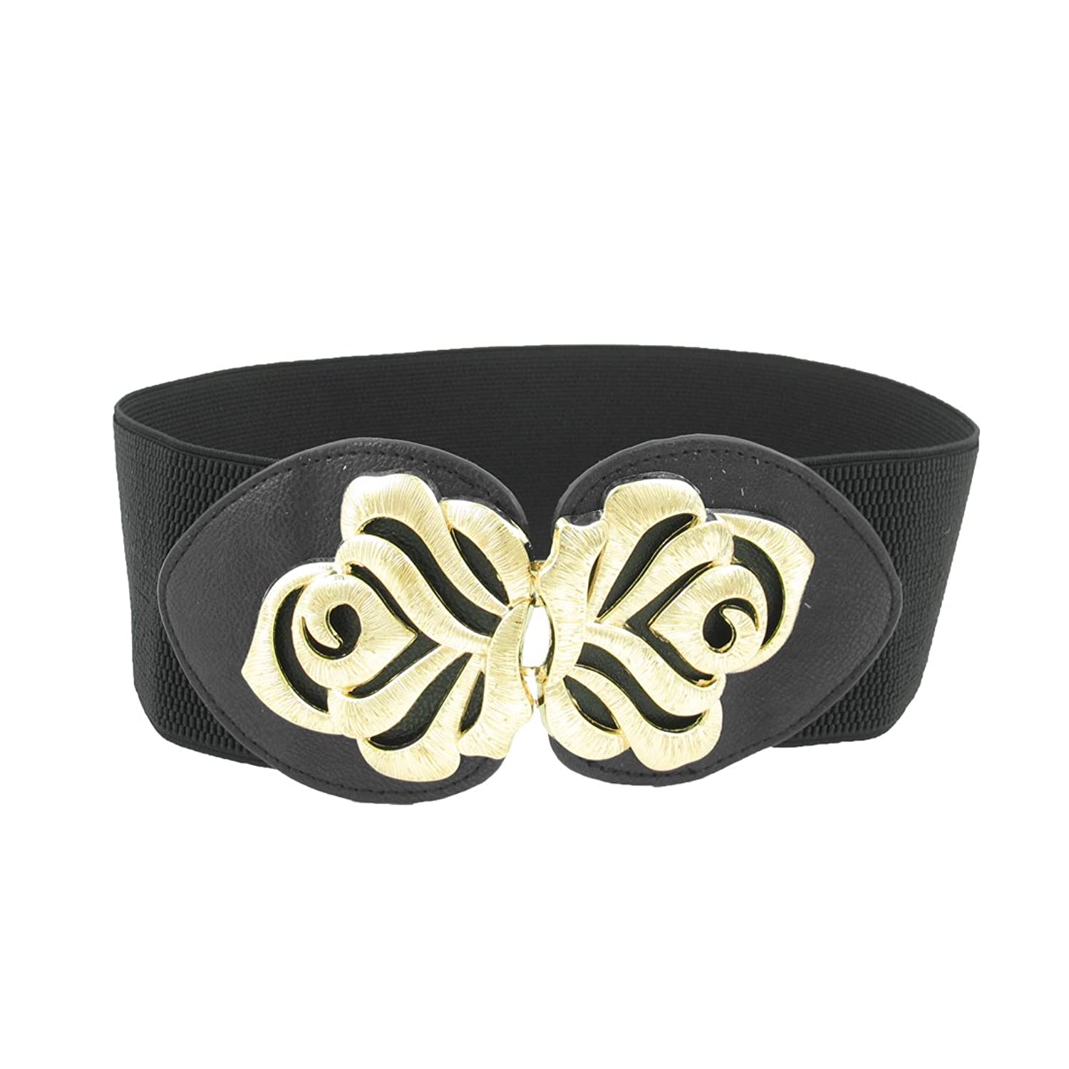 Women Floral Style Metal Hook Buckle Stretchy Waistbelt Band Black