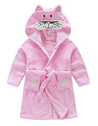 edfe2c38 Little Boys Girls Bathrobes,Toddler Kids Cartoon Hooded Plush Robe,Animal  Pajamas Fleece Bathrobe