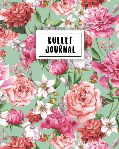 Bullet Journal: Pink Vintage Flower | 150 Dot Grid Pages (size 8x10 inches) | with Bullet Journal Sample Ideas